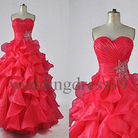 Custom Red Organza Tiered Wedding Dresses Bridal Gowns Long Prom Dresses Fashion Evening Gowns Evening Dresses Celebrity Dresses