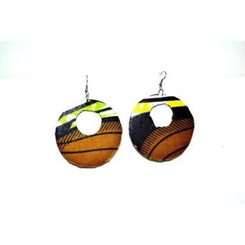 Large Round Earrings , African  Fabric Covered Wood Earrings, African Jewelry, Gift For Her, Yellow And Green African Earrings