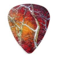 Red winter night polycarbonate guitar pick