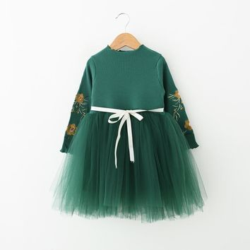 kids girls dress autumn long one-piece baby cotton Chiffon dresses for girl children Lace Tutu dress 6Y fashion Princess costume