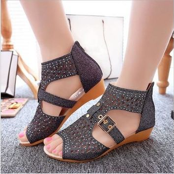 Summer Women Wedge Sandals Fashion Fish Mouth Pumps Sexy Hollow Out Shoes