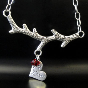 Silver Branch Heart Necklace - Birth Stone, Mother Gift, Family Necklace, Birthday Gift, Choose your color Stone.