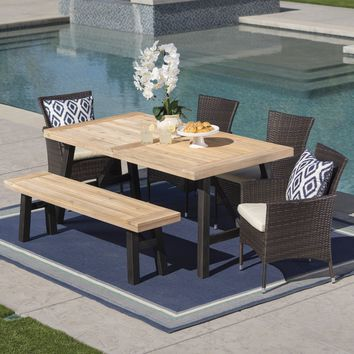 Jacks Outdoor 6 Piece Acacia Wood Dining Set with Wicker Dining Chairs