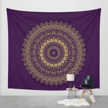 Wall Tapestry - 'Gold Circle' - Home,Decor, Wall,Modern, Home Warming Gift, Symmetry, Harmony, Bohemian, Boho, Hippie