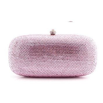 XIYUAN pink Evening Bags flat Diamond Rhinestone Pearls Beaded Day Clutches Women Purse Handbags Wallets  Wedding Evening Bag