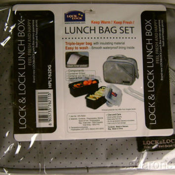 Lock & Lock Lunch Box Bag Set HPL762DG Gray Zippered Containers Lids Spoon Fork