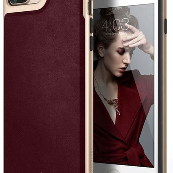 DCCK2JE Caseology Envoy Series iPhone 7 Plus / 8 Plus Cover Case with Leather Slim Protective for Apple iPhone 7 Plus (2016) / iPhone 8 Plus (2017) - Leather Cherry Oak