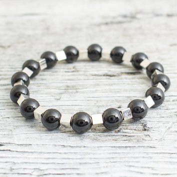 Black onyx beaded stretchy bracelet with silver plated hematite cubes, mens bracelet, womens bracelet