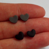 Small Matte Heart Black Studs and Matte Gray Studs Earring Set of Post Studs