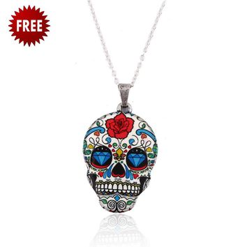 FREE Halloween Tattoo Skull Head Necklace (4 Styles)