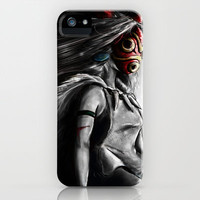 Miyazaki's Mononoke Hime Digital Painting the Wolf Princess Warrior Color Variation iPhone & iPod Case by Barrett Biggers