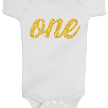 Baby Girl 1st Birthday Bodysuits - One Gold Glitter Flake Outfits