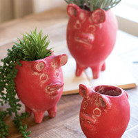 Set of 3 Tall Clay Pig Planters - Red