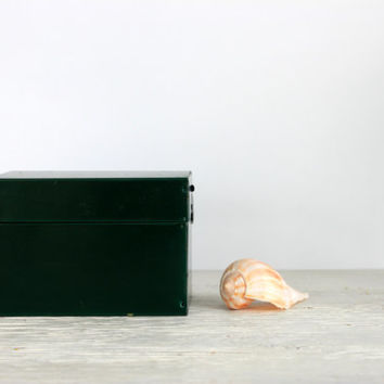 green industrial file box // metal recipe box // 3 x 5 card file // vintage office // urban storage