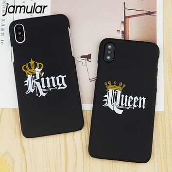 Cool Jamular Couple KING Queen Crown Phone Case For iPhone 6 6s Plus Slim Matte Hard PC Cover For iPhone X 6S 7 8 Plus Funda CoqueAT_93_12
