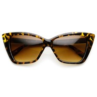 Womens Fashion Bold Boxed Frame Mod Cat Eye Sunglasses