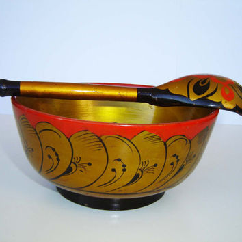 Vintage Russian Set of Folk Style Hand Painted Wooden Bowl and Spoon