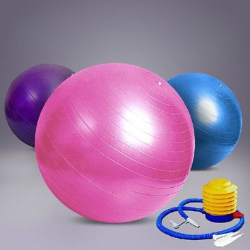 Free Shipping International Standard 65cm Gym Ball Fitness Pilates Aerobics Yoga Ball Slimming Exercise Ball with Free Pump