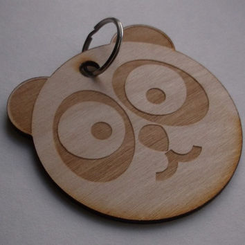 Wooden Panda Key Ring, Gift Idea, Home decoration, Wood, Lasercut