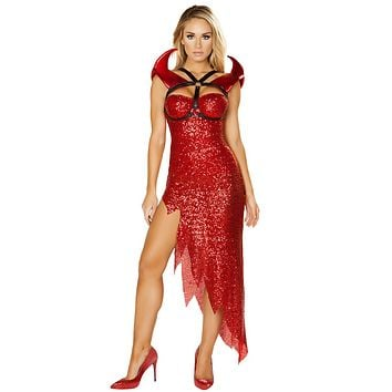 Sexy Some Like It Hot Devil Sequin Asymmetrical Red Dress