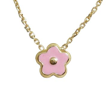 BecKids 18k Gold Pink Enamel Daisy Flower Necklace
