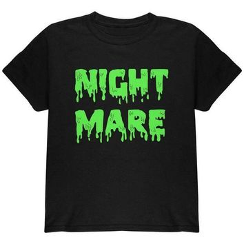 PEAPGQ9 Halloween Nightmare Horror Slime Dripping Text Youth T Shirt