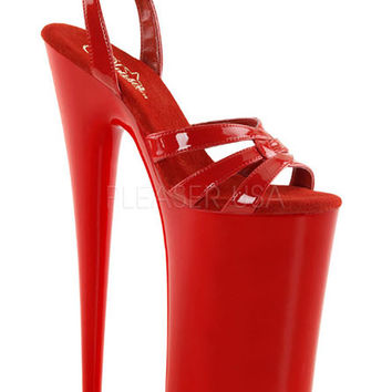 Wrap Around Red Ankle Strap 10 Inch Platform Shoe