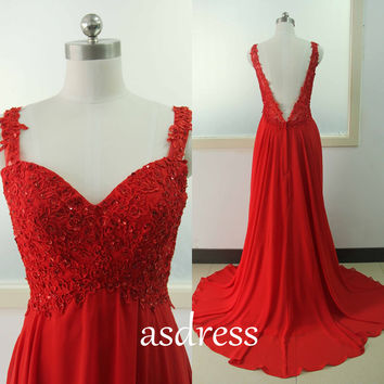 Sexy Spaghetti Straps Lace Prom Dress Homecoming gown Pageant Red dress Backless Wedding Dress Bridal Lace Gown Chiffon Dance Formal dress
