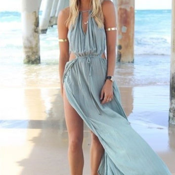 Blue Halter Keyhole Chiffon Maxi Dress