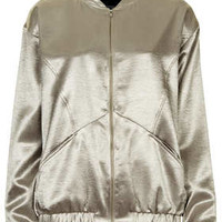 METALIC SATEEN BOMBER JACKET