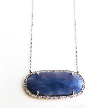 Sapphire Necklace, Rose Cut Blue Sapphire Pendant, White Gold, One Of A Kind Necklace, Pave' Diamond.