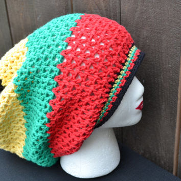 Crochet Rasta Hat - Rasta Tam - Dread Tam - Rastafari - Slouchy Beanie - Music Festivals - Summer Fashion