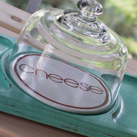 Hand Painted Vintage Cheese Board / tray with a glass dome /Retro Green