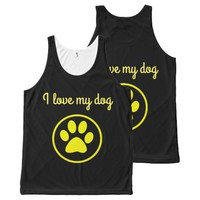 I love my dog yellow paw pet lover All-Over-Print tank top