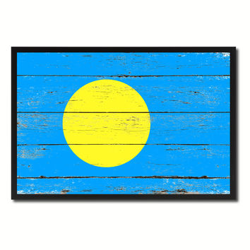 Palau Country National Flag Vintage Canvas Print with Picture Frame Home Decor Wall Art Collection Gift Ideas