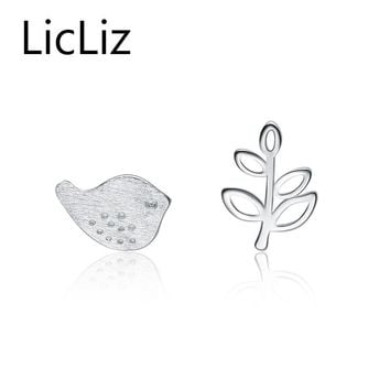 LicLiz Bird and Tree 925 Sterling Silver Rhodium Plated Stud Earrings Jewelry For Women Travel LE0137