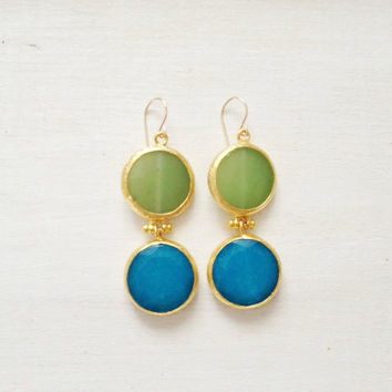 LARGE dangle long  DUAL  turquoise blue and light green gemstone earrings gold gemstone earrings Israel jewelry
