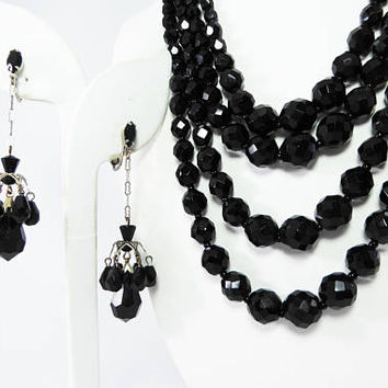 Black Beaded Necklace & Earring Set - Four Strand Necklace, Clip on Chandelier Earrings, Faceted Glass Beads, Vintage 1940s Mourning Jewelry