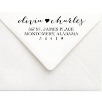 Custom Return Address Stamp - Love Calligraphy Wedding Stamp - Personalized Stamp for Invitation - Wedding Gift For Her, Couple Gift (S113)