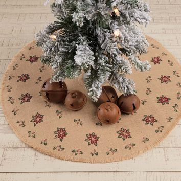 Jute Burlap Poinsettia Mini Tree Skirt