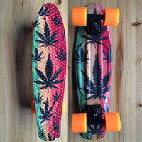 "Leaves Graphic Printed Plastic Mini Cruiser Skateboard 22"" X 6"" Retro Longboard Skate Long Board"