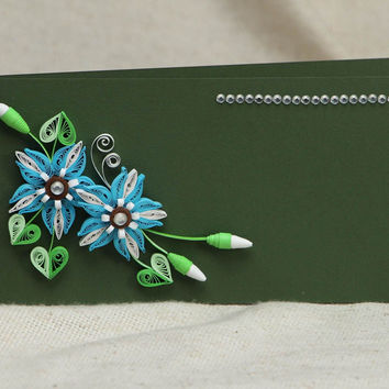 Beautiful handmade unusual creative unique original great quilling greeting card