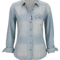 chambray button down shirt with destruction