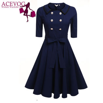 ANGVNS Women Swing Elegant Dresses Fashion Doll Collar 3/4 Sleeve High Waist Belted Button Solid Stretch Retro Mid-Calf Dress