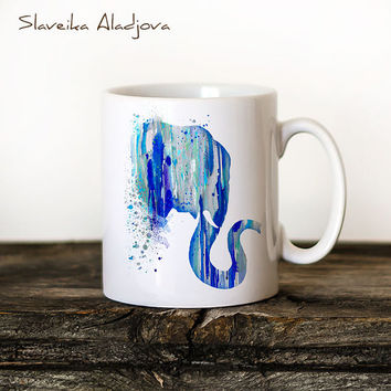Elephant Mug Watercolor Ceramic Mug Unique Gift Bird Coffee Mug Animal Mug Tea Cup Art Illustration Cool Kitchen Art Printed