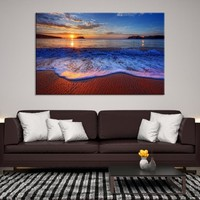 95268 - The Sunset and The Waves on the Beach Canvas Print