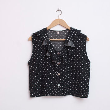 crop top shirt NOS vintage black polka dot size S