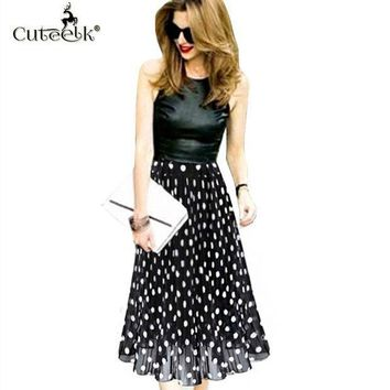 2017 Vintage Pleated Skirts Polka Dot Chiffon Skirt All Match Waist Fold Slim Skirts Women's Waisted Midi Skirt Ukraine Black