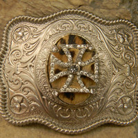 Rhinestone Iron Cross Leopard Cowhide Belt Buckle Silver Western Engraved Womens Belt Buckle