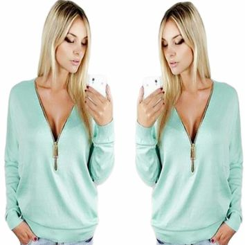 Deep V Neck Casual Zip Up Sweaters
